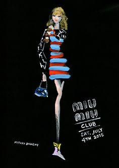 Miyuki Ohashi fashion illustration, Miu Miu Resort 2016