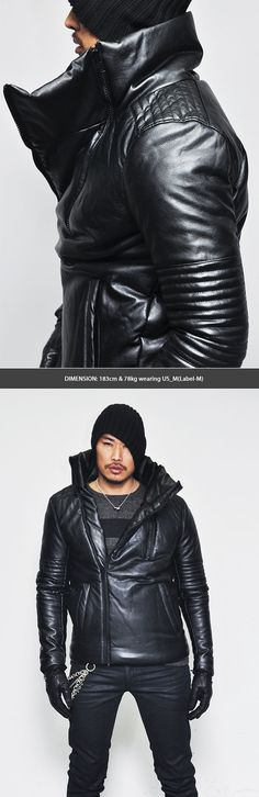 Outerwear :: Padded Highneck Seaming Leather Parka-Leather 55 - Mens Fashion Clothing For An Attractive Guy Look