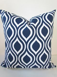 DARK BLUE PILLOW 20x20  Decorative Throw Pillows 20 x 20 Navy Blue Throw Pillow Covers Modern Home and Living Geometric Say it with pilllows