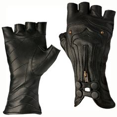 These exquisite 100% leather gloves are made of soft 100% leather with hand cast brass studs, snap and zipper closures....