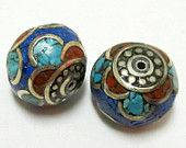 Lapis coral turquoise inlaid beads from Nepal