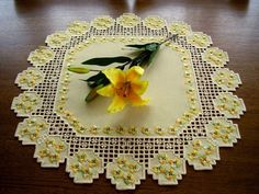 HARDANGER Embroidery ** a springtime-dream ** handmade yellow DOILY with flowers
