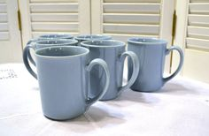 Vintage Corning Ware Mugs Set of 6 Coffee Cup by PanchosPorch