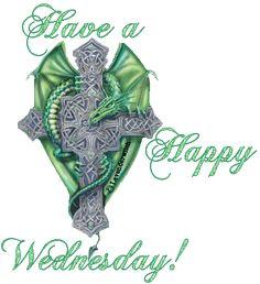 """""""Have a happy wednesday!"""" - Dragon vert autour de la croix"""
