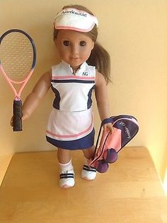 Retired American Girl Tennis Outfit with Racket and Tennis Balls