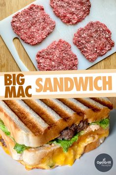 Big Mac Sandwich: Legendary burger in a new form - OptiGrill recipes - You will. - Big Mac Sandwich: Legendary burger in a new form – OptiGrill recipes – You will love the Big M - Big Mac, Big Sandwich, Grilled Sandwich, Deli Sandwiches, Burger Co, Homemade Burgers, Sandwich Recipes, Fish Recipes, Breakfast Recipes