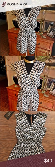 🐘BCBG GENERATION small elephant jumpsuit romper BCBG Generations Black/Beige elephant jumpsuit romper size small, cap sleeve, pockets, lined and crossover chest can be open or closed with a inside button! With stretchable waist!! No flaws great condition only Cut tag!! pre owned items are overlooked very closely sometimes I mistakenly overlook something look at pictures closely and measurements always ask questions.. measurements measured flat laying it's a approximate measurement…