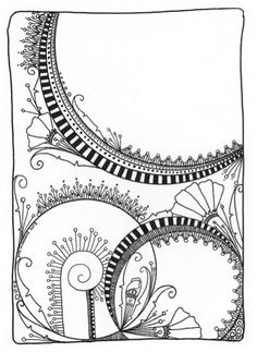 I'm so going to color this! Zen doodle art by June Crawford, featured in the Zen Doodle Coloring Book! Featured at ClothPaperScissors.com, where mixed-media artists come to play. :) #coloring #doodles