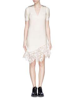 SACAI - Asymmetric lace hem knit dress