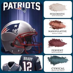 Are you a Patriots fan? Then why not wear it on your eyes? #satin oyster grey (pessimistic), paired with #metallic copper (manipulative) and #matte burgundy (fervent) and teal green (cynical). Build your own quad at www.taniaslashes.com #younique #taniaslahes #nfl #americanfootball