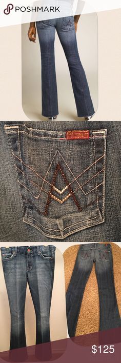 7 For All Mankind flare denim Swarovski crystals in back pocket🌺 Great condition 7 For All Mankind Jeans Flare & Wide Leg