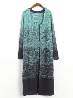 Amazing O-Neck Full Sleeve gradient Color Knitted Women Leisure Cardigan Sweater on buytrends.com