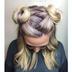 #glitterroots #spacebuns #lavenderroots