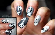 Halloween,Skull nails, Misty Grey and China Glaze White Out.
