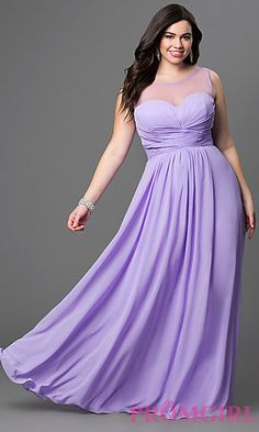 Chiffon Floor Length Corset Back Dress with Sheer Neckline at PromGirl.com
