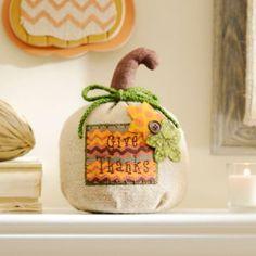 Give Thanks Burlap Pumpkin | Kirklands