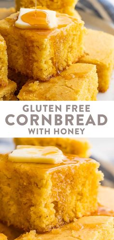 This gluten free cornbread is made with honey moist sweet and tender. Delicious with chili it's easy and quick to throw together and is made with healthier ingredients like honey and gluten free flour. Cookies Sans Gluten, Dessert Sans Gluten, Gluten Free Desserts, Dairy Free Recipes, Honey Recipes, Egg Recipes, Pizza Recipes, Paleo Recipes, Gluten Free Banana