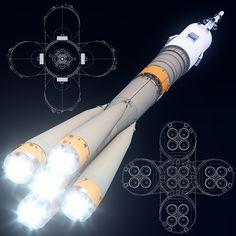 Max Soyuz Fg Rockets - 3D Model