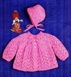 Baby Bonnet Pattern, Baby Cardigan Knitting Pattern Free, Crochet Baby Jacket, Baby Knitting Patterns, Baby Patterns, Free Knitting, Crochet Patterns, Baby Coat, Baby Bonnets