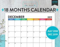 Academic Calendar, 2018 2019 Printable Academic Calendar, 2018 2019 Printable Calendar, Monthly Calendar, Monthly Planner, 2018 2019 Calendar
