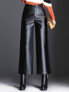 Ericdress Loose Wide Leg Plain PU High- Waist Women's Casual Pants Leather Culottes, Leather Pants Outfit, Wide Pants Outfit, Black Leather Pants, Mode Outfits, Fashion Outfits, Womens Fashion, Woman Outfits, Trendy Outfits