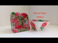 Decoupage Doble en vidrio o cristal - YouTube Handmade Envelopes, Stencils, Diy, Plates, Make It Yourself, Simple, Decoupage Ideas, Youtube, Videos