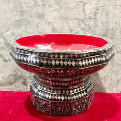 "Excited to share this item from my #etsy shop: 9.5"" Width Thai Wood Pearl Buddhist Prayer Holy water Bowl Offering Tribute Tay Buddhist Prayer, Silver Dip, Antique Decor, Gold Gilding, Antique China, Beautiful Patterns, Holi, Decorative Bowls, Prayers"