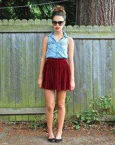 Discover this look wearing Crimson American Apparel Skirts, Sky Blue Romwe Tops - Summer Dreams by DailyDoseofDana styled for Vintage, Everyday in the Summer Spring Summer Fashion, Winter Fashion, Velvet Skirt, Red Velvet, Buy My Clothes, American Apparel Skirt, Summer Dream, Summer Tops, Denim Shirt