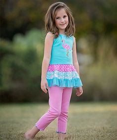 Look what I found on #zulily! Pink Flamingo Tunic & Pants - Infant, Toddler & Girls #zulilyfinds