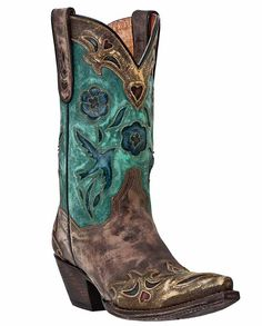 Dan Post Women's Bluebird and Sanded Copper Western Fashion Boots