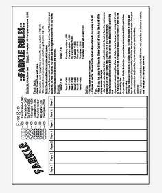 Farkle Score Sheet Template  Favorite Words    Scores