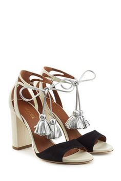 Gladys Suede and Leather Sandals with Tassels   Malone Souliers