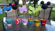 Mickey Mouse Clubhouse Inspired Clay Pot by ToadilyUniqueCrafts Mickey Mouse Clubhouse Birthday Party, Mickey Mouse Parties, Mickey Party, Mickey Mouse And Friends, Mickey Minnie Mouse, Pirate Party, Mickey Mouse Clubhouse Decorations, Mickey 1st Birthdays, Mickey Mouse First Birthday