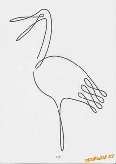 S dcerou jsme chodili do kroužku pro předškoláky a mimo jiné jsme procvičovali i tuhle tématiku na u... Single Line Drawing, Continuous Line Drawing, Animal Line Drawings, Baby Gifts To Make, Line Art Tattoos, Cartoon Sketches, Cat Jewelry, Free Motion Quilting, Wire Art