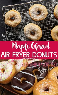 Air Fryer Maple Glazed Donuts Are A Quick and Easy Breakfast Recipe That's Ready In Just 15 Min. Extraordinary For Weekends, Check Out The Other Glaze Flavors Too. Quick Easy Desserts, Quick Easy Meals, Quick Dessert, Quick Recipes, Fall Recipes, Air Fry Donuts, Mini Doughnuts, Gourmet Recipes, Dessert Recipes