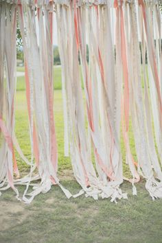 Maybe we could do this to outline the ceremony area? a ribbon wall crafted for the outdoor ceremony. Ribbon Backdrop, Ribbon Wall, Farm Wedding, Dream Wedding, Wedding Day, Boho Wedding, Outdoor Ceremony, Wedding Ceremony, Ceremony Decorations