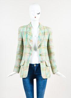 Chanel Mint Green and Multicolor Tweed Shawl Lapel Blazer