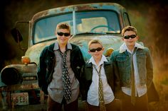 boys brothers sunglasses jackets old truck photo session idea