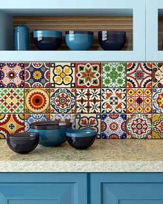 Traditional Mexican Tile Decals bathroom stickers mixed Tiles for backsplash Kitchen decals DIY home decor Mexican Kitchen Decor, Mexican Kitchens, Mexican Bedroom Decor, Peel And Stick Tile, Stick On Tiles, Tile Stickers Kitchen, Bathroom Stickers, Tile Decals, Wall Decal