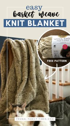 An easy knit blanket throw that doesn't look beginner! The modern basketweave design fits any decor. This easy knit blanket pattern for beginners is cozy and stylish - fits any decor from farmhouse to cabin to traditional to contemporary. A great gift idea too! Easy Knitting Projects, Easy Knitting Patterns, Crochet Blanket Patterns, Diy Craft Projects, Craft Ideas, Diy Crafts, Easy Knit Blanket, Modern Baskets, Cast On Knitting