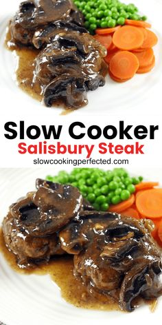 This slow cooker Salisbury steak recipe is a must try. It features juicy beef patties with an incredible gravy that's packed with flavor. Crock Pot Slow Cooker, Slow Cooker Recipes, Crockpot Recipes, Crockpot Meat, Easy Chicken Recipes, Meat Recipes, Cooking Recipes, Dinner Recipes, Salisbury Steak Recipes
