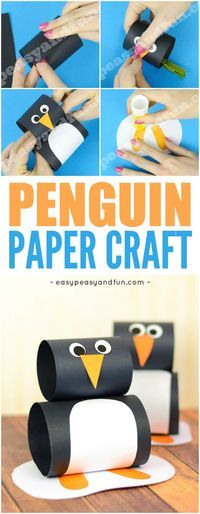 Cute Paper Penguin Craft for Kids. Fun and simple Winter craft idea for kids to make.
