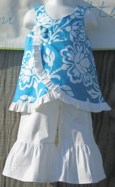 cute wrap top with ruffle pants