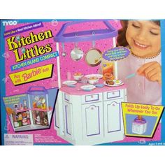 Amazon.com: Barbie -Orginal Tyco Kitchen Littles Kitchen Island Compact: Toys & Games