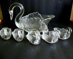 Cambridge Glass Swan Set 6 Pc Master Nut Salts Dip Candy Dish Clear SIGNED VTG #CambridgeGlass