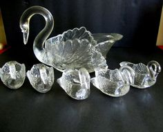 Cambridge Glass Swan Set 6 Pc Master Nut Salts Dip Candy Dish Clear SIGNED VTG #CambridgeGlass