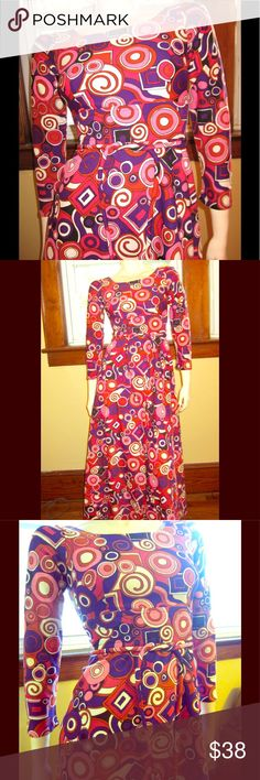 """Vintage PUCCI-style 60s Groovy MOD Maxi Dress GROOVY vintage 60s MOD maxi dress in a Pucci-inspired Psychedelic print in Bold Neon colors that POP.  Formfit bodice w/empire waist & self-tie belt. Full & flairy a-line skirt. Back zip.   SX:N/A Fits XS/XXS  Bust:32"""" or up to 34"""" snug  Waist:24"""" at empire waist Hips:38"""" Lgth:App 52"""" sh-hem, 46"""" underarm-hem Label:None Looks homemade Polyester unlined Condition:EX/1 minor flaw: # written in marker in back near center seam faint/not noticeable…"""