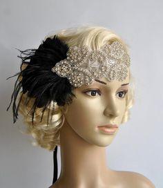 Strass flapper Gatsby hoofdband bruiloft door BlueSkyHorizons