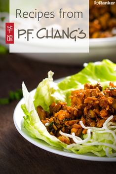 A list of P. Recipes from the best dishes at P. Chang's like kung pao shrimp, wonton soup, honey seared chicken, and some of their other best dishes! I love the chicken lettuce wraps from P. Chang's because it is such a healthy meal Pf Changs Chicken Lettuce Wraps Recipe, Lettuce Wrap Sauce, Lettuce Wrap Recipes, Asian Chicken Lettuce Wraps, Pf Chang Kung Pao Chicken Recipe, Pf Changs Fried Rice Recipe, Chinese Lettuce Wraps, Ground Turkey Lettuce Wraps, Kung Pao Shrimp