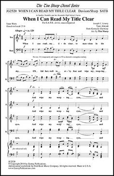 When I Can Read My Title Clear (SATB)